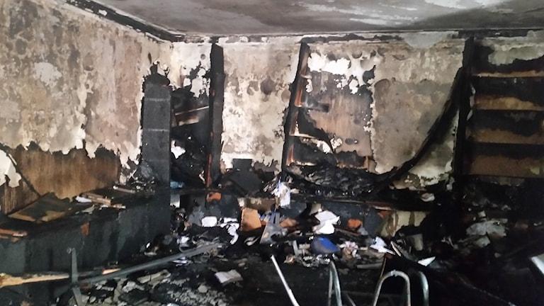 Partiet HDP:s lokaler i Ankara utsattes för stacks i brand. Foto: Katja Magnusson/Sveriges Radio.