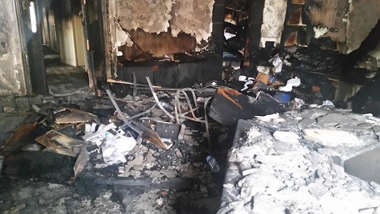Partiet HDP:s lokaler i Ankara brandhärjades. Foto: Katja Magnusson/Sveriges Radio.
