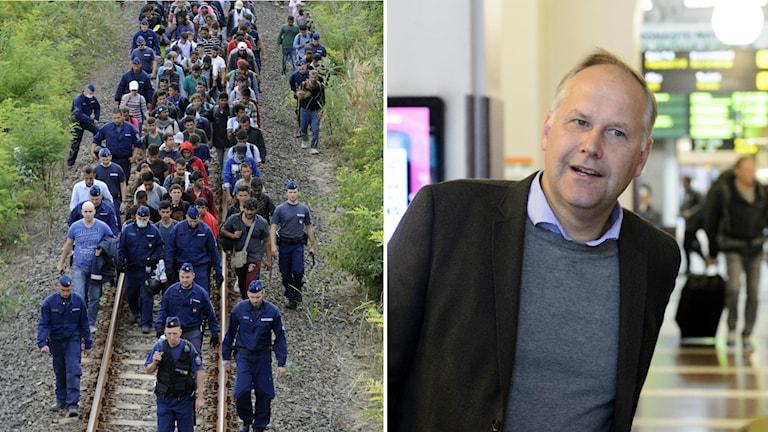 Flyktingar går längs rälsen i Ungen. Jonas Sjöstedt på Stockholms Central. Foto: TT