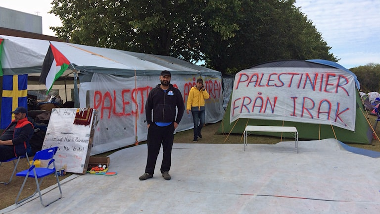 Palestinier hungerstrejkar utanför Migrationsverket i Malmö. Foto: Samuel Larsson/Sveriges Radio.