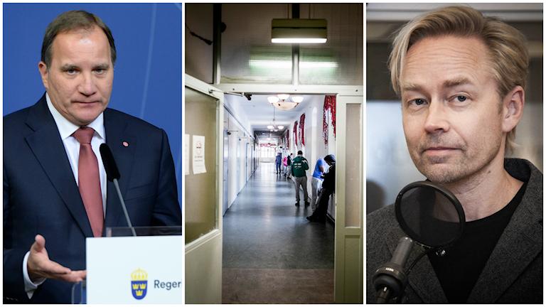Statsminister Stefan Löfven och Ekots politiska kommentator Fredrik Furtenbach. Foto: TT och Sveriges Radio.