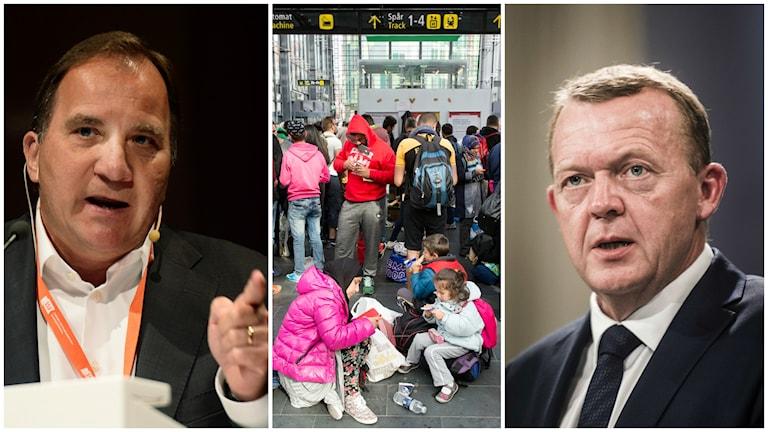Statsminister Stefan Löfven och Danmarks statsminister Lars Løkke Rasmussen. Under hela dagen har flyktingar kommit till Malmö. Foto: TT.