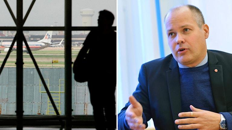 Morgan Johansson och flygplatsbild. Foto: Henrik Montgomery/TT och Tony Gutierrez/AP