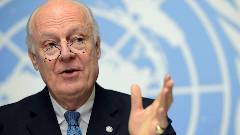 FN:s sändebud i Syrien Staffan de Mistura. Foto: Martial Trezzini/TT.