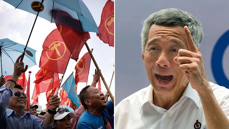 Röda flaggor vajar över anhängare till Singapores Arbetarparti. Landets premiärminister Lee Hsien Loong från partiet PAP.