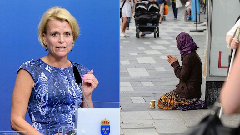 arn-, äldre- och jämställdhetsminister Åsa Regnér (S) och romsk kvinnlig tiggare. Foto: TT: Montage: Sveriges Radio.