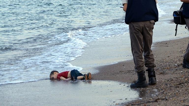 Bilden som skakade världen. Aylan Kurdi, 3, hittades död på en strand i Turkiet den 2 september. Foto: AP.