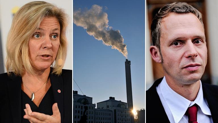 Magdalena Andersson (S) och Jens Holm (V). Foto: TT.