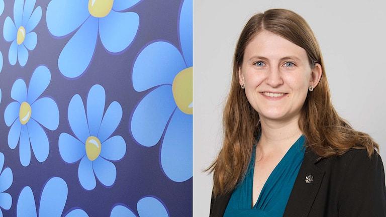 Sverigedemokraternas symbol och SDU:s Jessica Ohlson. Foto: TT och Uppsala kommun. Montage: Sveriges Radio.