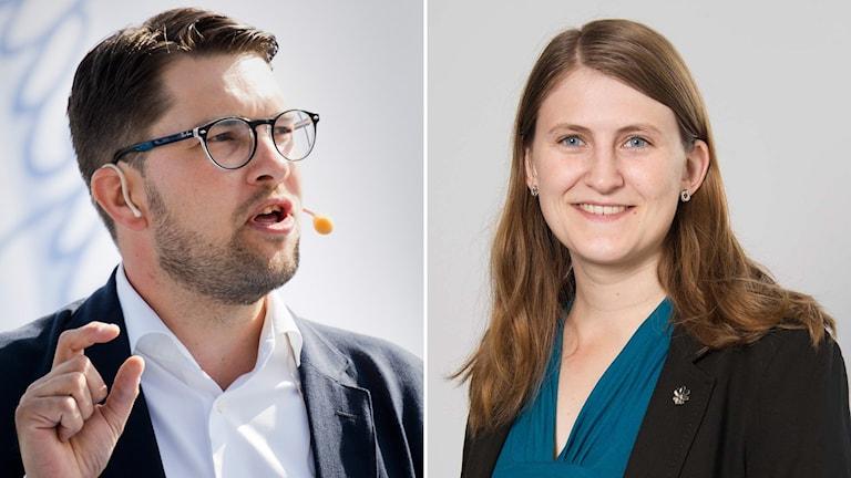 SD:s partiledare Jimmie Åkesson och den nya ordföranden för SDU, Jessica Ohlson. Foto: TT och Uppsala kommun. Montage: Sveriges Radio.