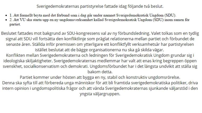 Såhär såg det ut på SDU:s hemsida strax efter beskedet om att SD bryter med ungdomsförbundet. Bild: Skärmump från sdu.nu.
