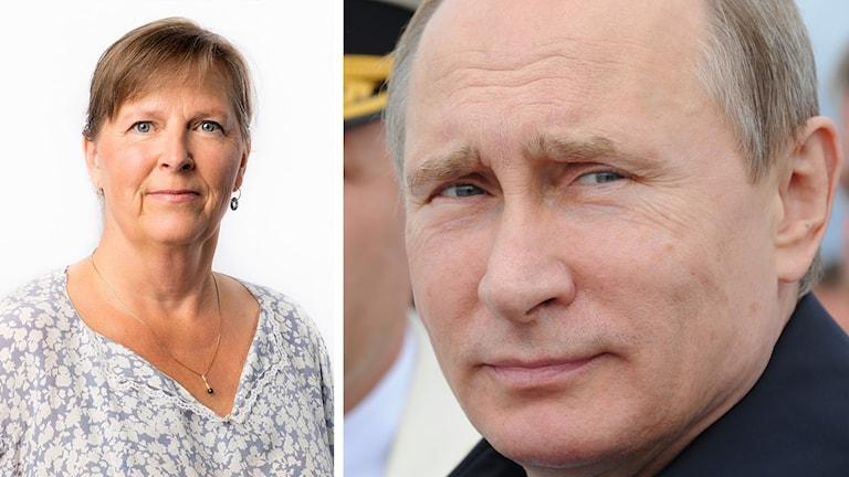 Delad bild: Moskvakorrespondent Maria Persson Löfgren samt Rysslands president Vladimir Putin. Foto: Mikhail Mattias Ahlm/Sveriges Radio samt Mikhail Klimentyev/TT.