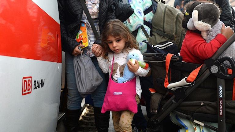 Flyktingar anländer till München. Foto: Christof Stache/TT.