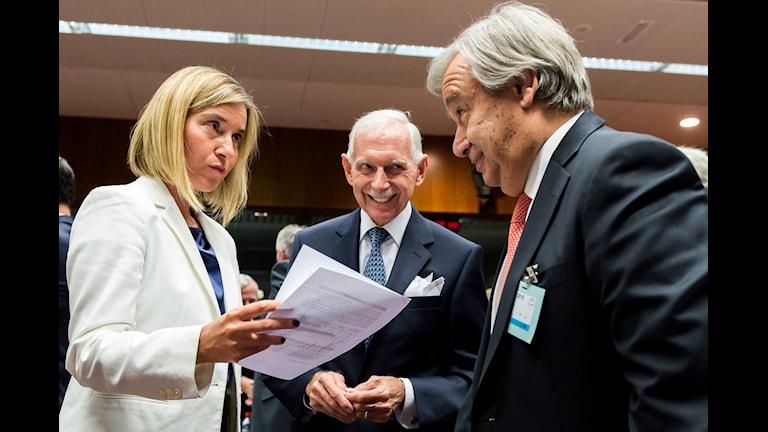 Federica Mogherini i samtal med IMO:s William Lacy Swing och UNHCR:s Antonio Guterres.
