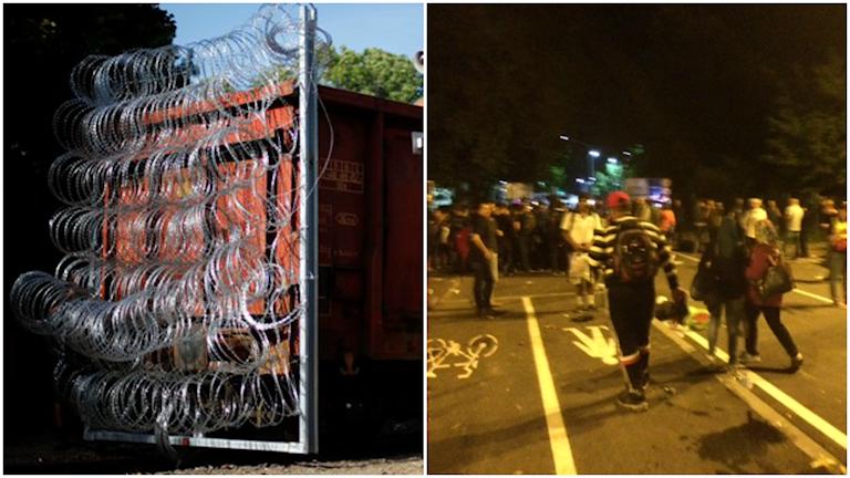 Något hundratal människor har samlats och står vid grindarna mot den ungerska gränsen. På ungerska sidan står kravallpolis som täpper igen övergången. Foto: TT och Milan Djelevic/ Sveriges Radio.