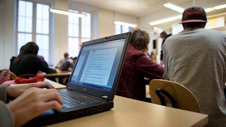 Elev vid dator i ett klassrum. Foto: Jessica Gow/TT.