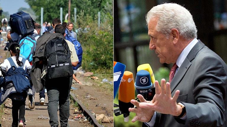 Flyktingar som går längs järnvägsspår. EU-kommissionären Dimitris Avramopoulos. Foto: TT.