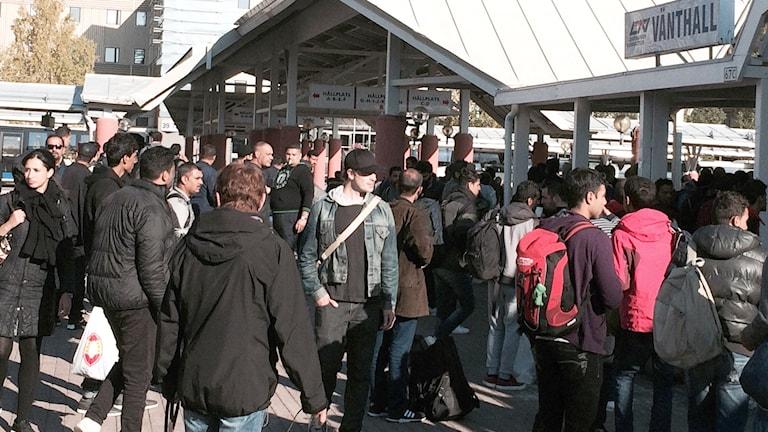 Hundratals flyktingar idag på busstationen i Luleå. Foto: Ulf Larsson/Sveriges Radio.