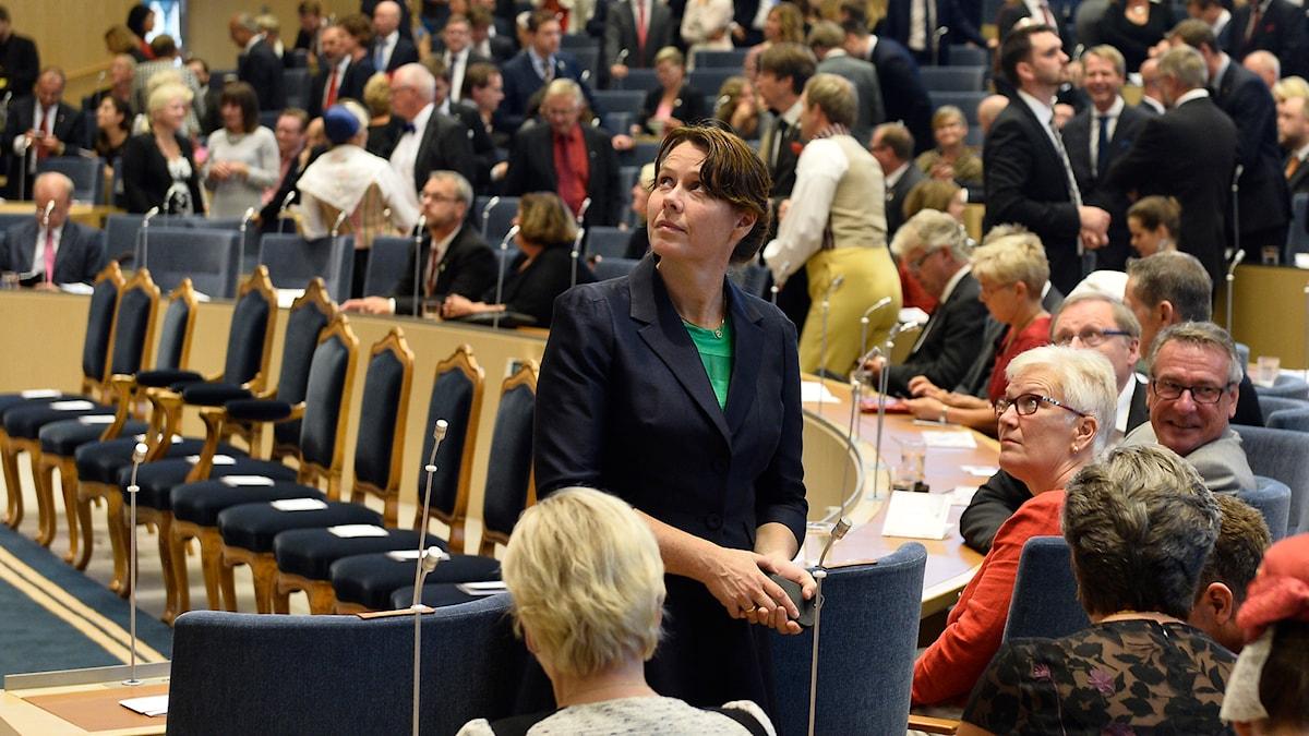 Klimat- och miljöminister Åsa Romson (MP) på plats inför riksdagens öppnande i Riksdagshuset i Stockholm. Foto: Anders Wiklund/TT.