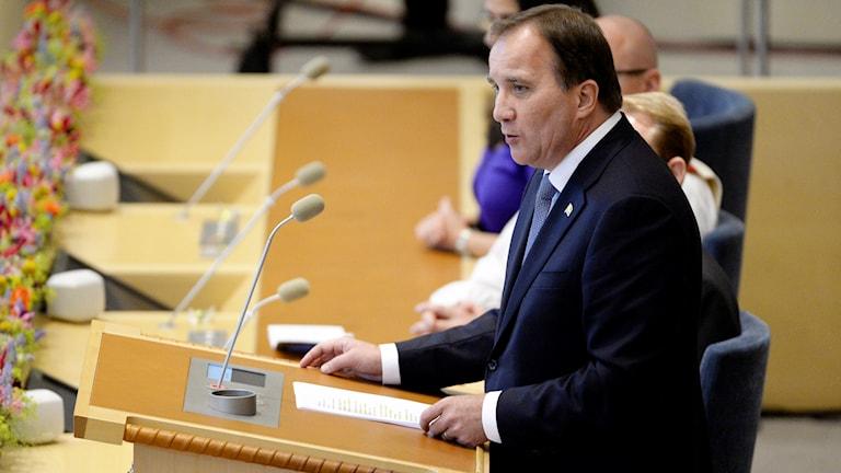 Statsminister Stefan Löfven talar under riksdagens öppnande i Riksdagshuset i Stockholm. Foto: Jessica Gow/TT.