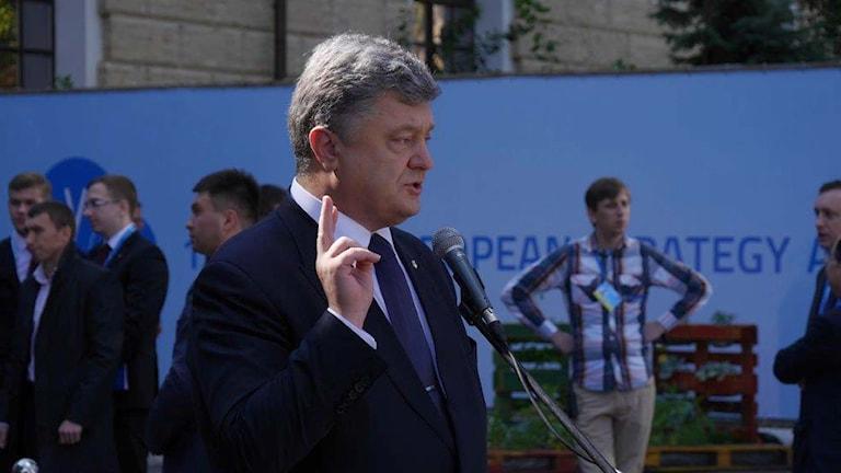 Ukrainas president Petro Porosjenko. FOTO: Maria Persson Löfgren/Sveriges Radio.