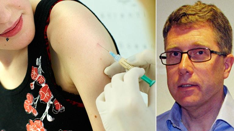 Rolf Gedeborg vid Läkemedelsverket säger att 72 miljoner människor har fått vaccinet utan allvarliga biverkningar. Foto: Pressbild/Läkemedelsverket/TT. Montage: Sveriges Radio