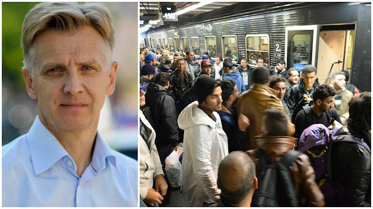 Migrationsverkets generaldirektör Anders Danielsson. Flyktingar anländer till Stockholms centralstation. Foto: Leif R Jansson /TT och Jonas Ekströmer / TT.