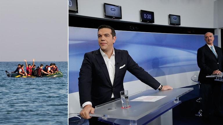 De två debattörerna tittar mot en båt med flyktingar.