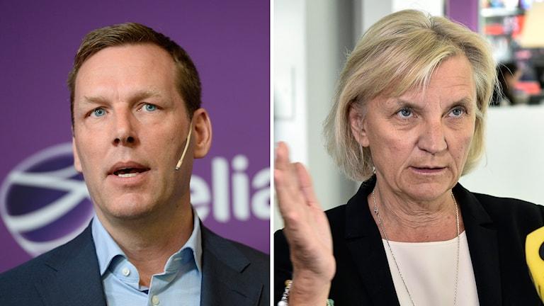 Johan Dennelind, vd, vid Telia Sonera och styrelseordförande Marie Ehrling. Foto Leif R Jansson/TT och Anders Wiklund/TT.