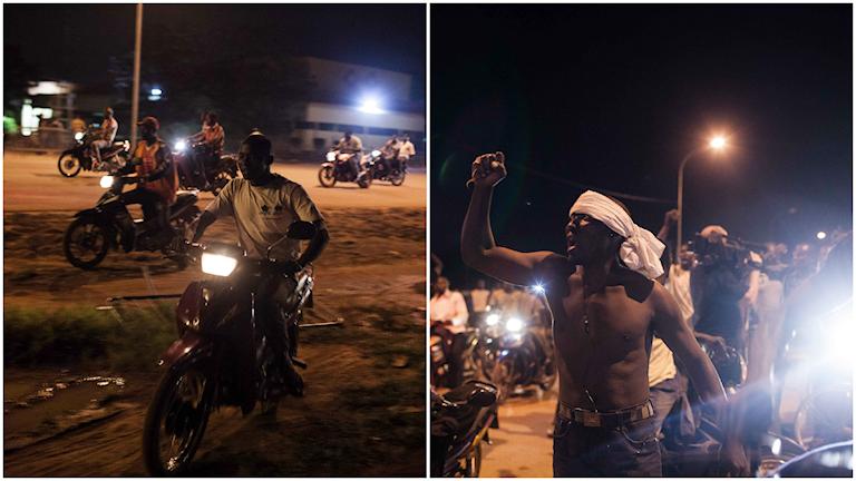 Människor demonstrerar vid presidentpalatset i huvudstaden Ouagadougou där militären håller landets interimspresident Michel Kafando och premiärminister Isaac Zida fångna. Foto: AP Photo/Theo Renaut/TT.