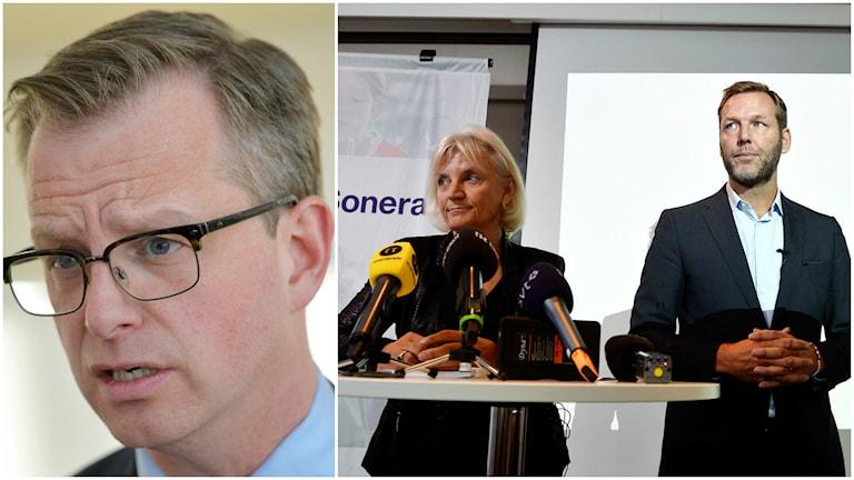 Näringsminister Mikael Damberg (S), Marie Ehrling, Telias styrelseordförande, och Johan Dennelind, Telia Soneras vd. Foto: TT.