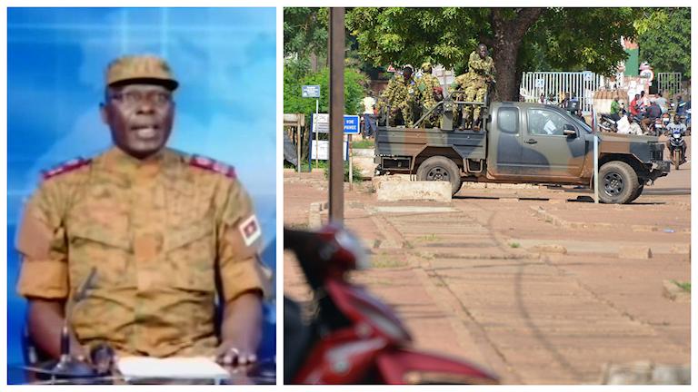 Överstelöjtnant Mamadou Bamba talar på nationell tv i Burkina Faso och bekräftar att landets övergångsregering har lösts upp. En kupp har därmed verkligen skett i landet. Foto: RTB/AP/TT.