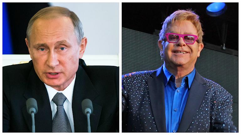 Den ryske ledaren Vladimir Putin och artisten Elton John. Foto: TT.