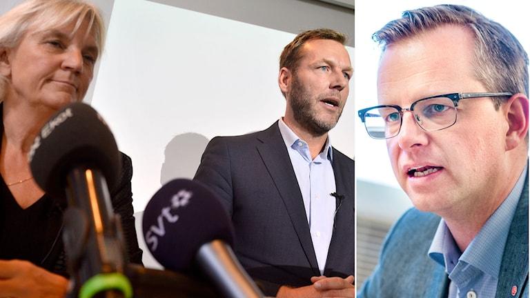 Telia Soneras Marie Ehrling och Johan Dennelind samt Sveriges näringsminister Mikael Damberg. Foto TT.