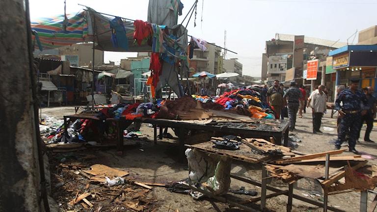 Flera människor dog när en självmordbombare slog till i Baghdad i dag. Foto: AFP PHOTO/ AHMAD AL-RUBAYE/TT.