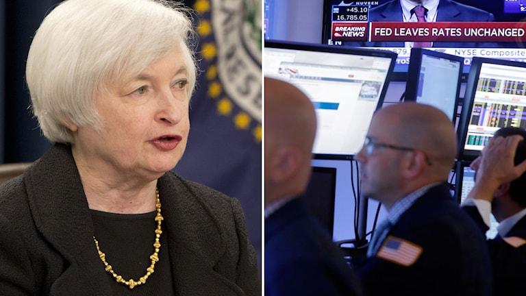 Fed:s ordförande Janet Yellen och börsmäklare på Wall street i USA. Foto: Jacquelyn Martin/Richard Drew/TT.