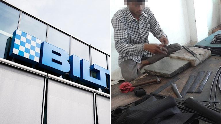 Efter ett besök hos sin leverantör i Indien meddelar Biltema nu att man kommer upphöra köpa in läderprodukter med detta ursprung. Foto: TT och Sveriges Radio.