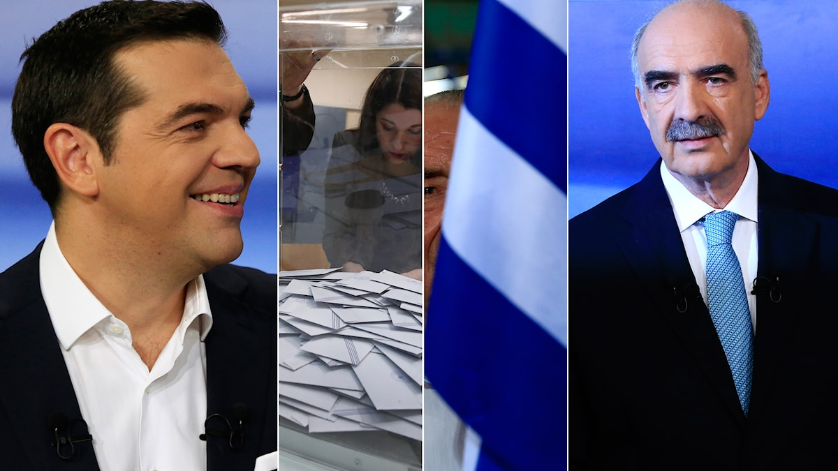 Syrizas Alexis Tsipras och det största oppositionspartiet Ny Demokratis ledare Vangelis Meimarakis. Foto: Lefteris Pitarakis/AP, Petros Giannakouris/AP, Lefteris Pitarakis/AP, Lefteris Pitarakis/AP