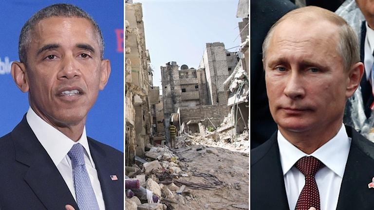USA:s president Barack Obama och Rysslands president Vladimir Putin. Foto: TT.