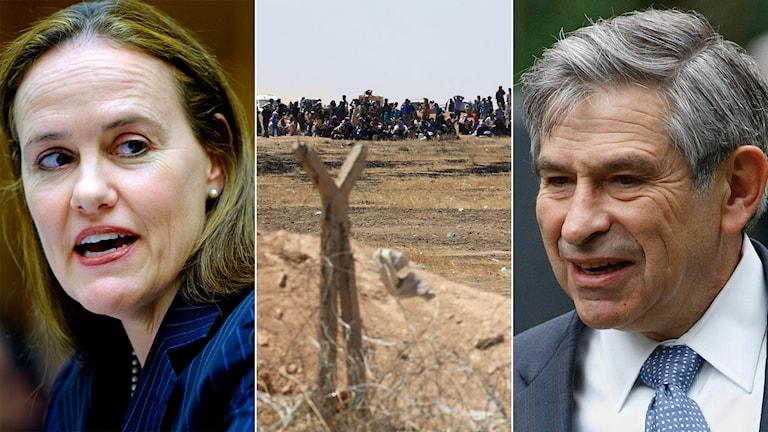 Michèle Flournoy och Paul Wolfowitz och syriska flyktingar bakom ett stängsel