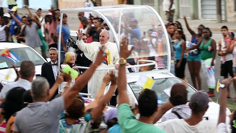 Påven Franciskus i sin påvemobil. Foto: Jorge Beltran/TT.
