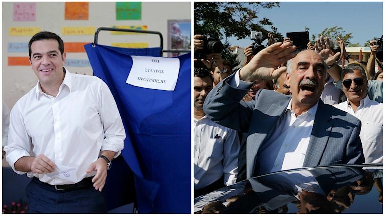 Alexis Tsipras  och Vangelis Meimarakis. Foto: TT.