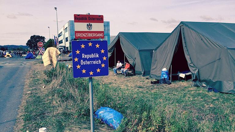Flüchtlinge Zeltlager Grenze Österreich Ungarn (Foto: Jens Möller/Sveriges Radio)