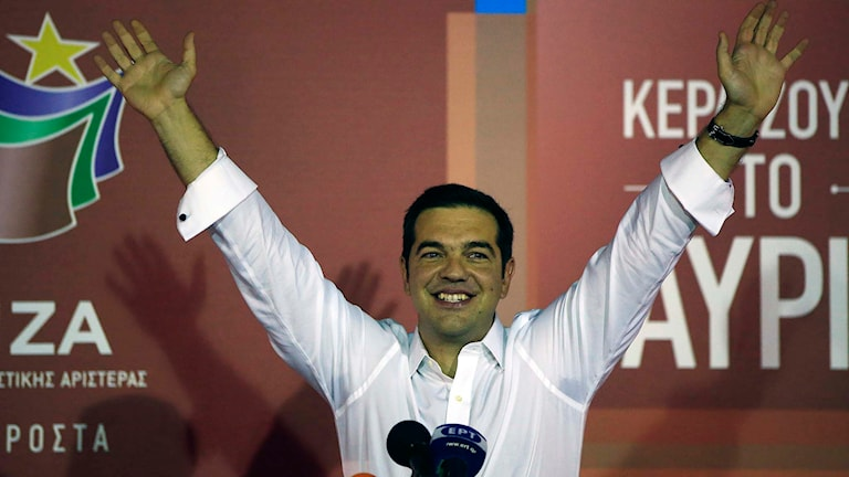 Syrizas partiledare Alexis Tsipras. Foto: Lefteris Pitarakis/TT.