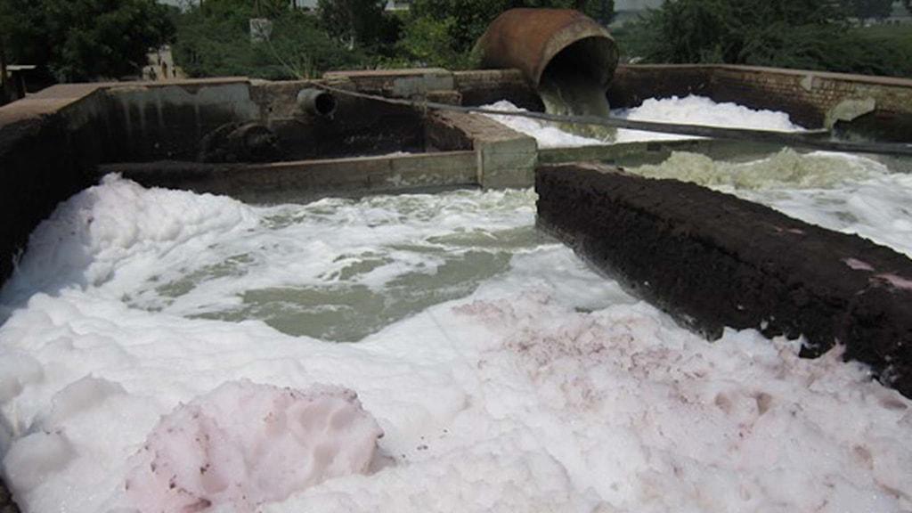 Förorenat vatten i Kanpur i norra Indien. Foto: Sveriges Radio.