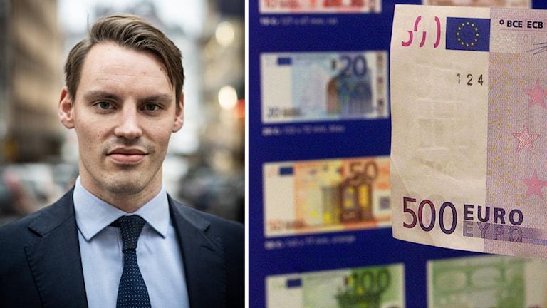 Nationalekonomen Björn Olssons uträkning visar att Sverige inte skulle ha gynnats av att ha euron som valuta. Till höger syns en eurosedel.