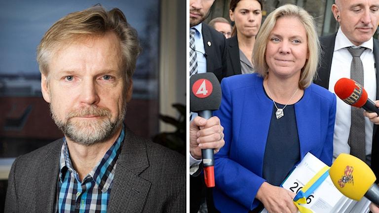 Ekots kommentator Tomas Ramberg och finansminister Magdalena Andersson med budgetpropositionen. Foto: Pablo Dalence/Sveriges Radio och Jessica Gow/TT.