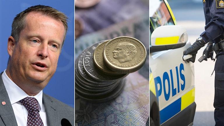 Anders Ygeman, en bild på pengar och en polis som går in i en bil. Tredelad bild. Foto: Bertil Ericson/TT, Fredrik Sandberg/TT, Fredrik Sandberg/TT