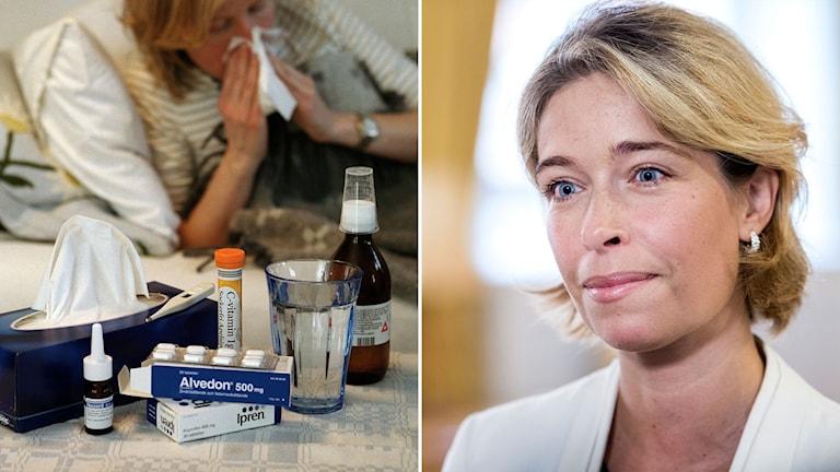 En sjuk person samt Annika Strandhäll.