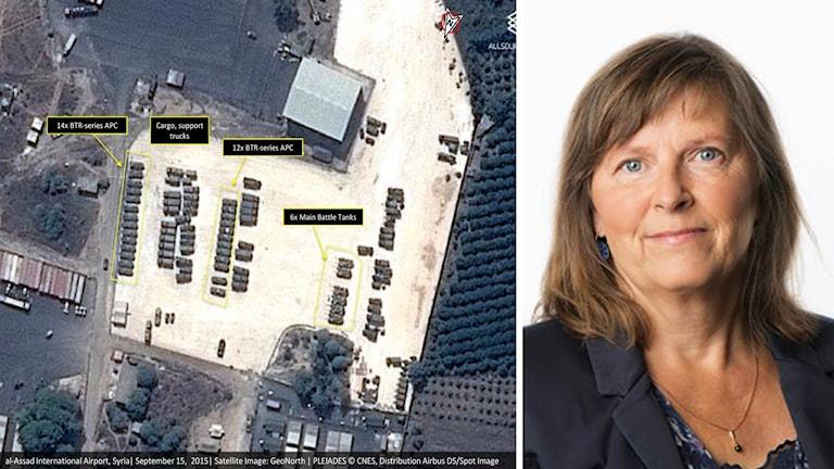 Satellitbild av förmodat ryska pansarfordon på en flygplats i Syrien och Maria Persson Löfgren.